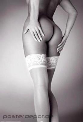 Poster-Erotik-Stockings-Struempfe-Straps-Po-Ruecken-nackt