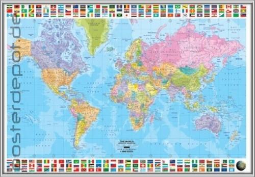 poster worldmap weltkarte karte fahnen silber rahmen ebay. Black Bedroom Furniture Sets. Home Design Ideas