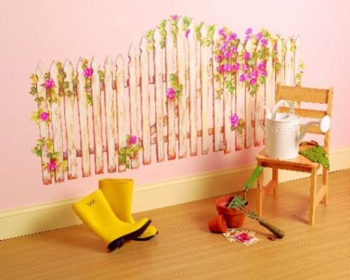 Wandsticker wandaufkleber pfosten zaun lattenzaun garten for Kinderzimmer zaun