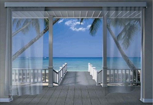 fototapete caribbean aussicht meer terrasse karibik neu ebay. Black Bedroom Furniture Sets. Home Design Ideas