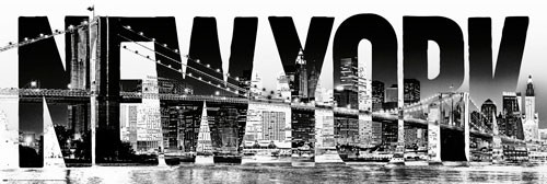 poster new york schriftzug skyline brooklyn bridge usa ebay. Black Bedroom Furniture Sets. Home Design Ideas