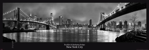 xxl poster new york schwarz wei brooklyn bridge br cke. Black Bedroom Furniture Sets. Home Design Ideas