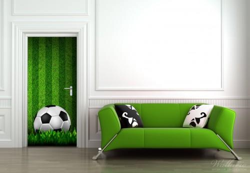 Selbstklebende Tapete Gras : Wallario Selbstklebende Premium T?rtapete Fu?ball Gras Sport Rasen