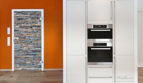 wallario selbstklebende premium t rtapete naturstein mauer steinwand schiefer ebay. Black Bedroom Furniture Sets. Home Design Ideas