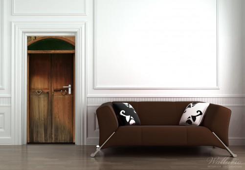 wallario selbstklebende premium t rtapete alte holzt r natur holz r tlich ebay. Black Bedroom Furniture Sets. Home Design Ideas