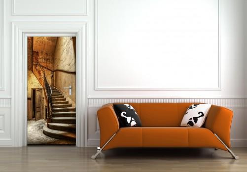 wallario selbstklebende premium t rtapete rustikale holztreppe treppe holz haus ebay. Black Bedroom Furniture Sets. Home Design Ideas