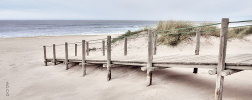 glasbild holzsteg am strand sand d nen meer ozean k ste weg d ne 125 x 50 cm ebay. Black Bedroom Furniture Sets. Home Design Ideas