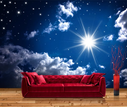 premium vliestapete fototapete sterne sternenhimmel wolken sonne 400x280 cm ebay. Black Bedroom Furniture Sets. Home Design Ideas