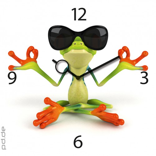 coole wohnzimmer uhren:Uhr aus Glas Glasuhr Wanduhr – Frosch in Meditation Sonnenbrille – 30