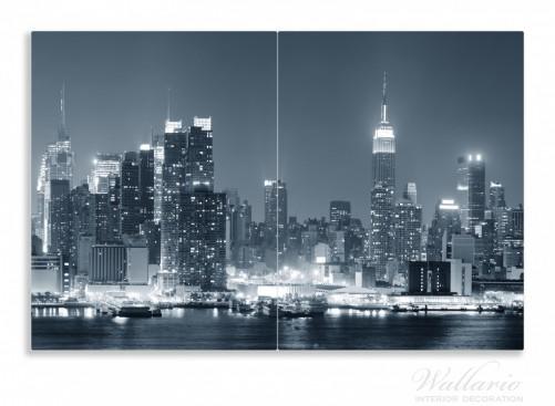 herdabdeckplatte new york skyline schwarz wei blau. Black Bedroom Furniture Sets. Home Design Ideas