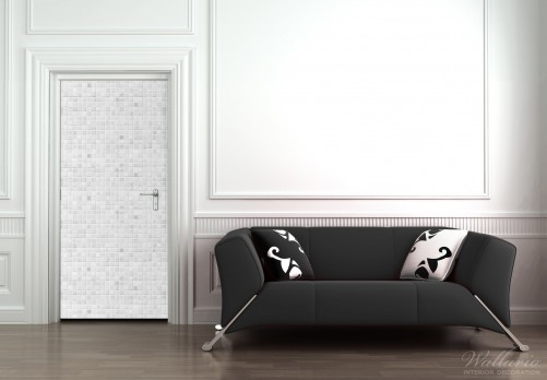 selbstklebende t rtapete fliesen im bad wei grau. Black Bedroom Furniture Sets. Home Design Ideas