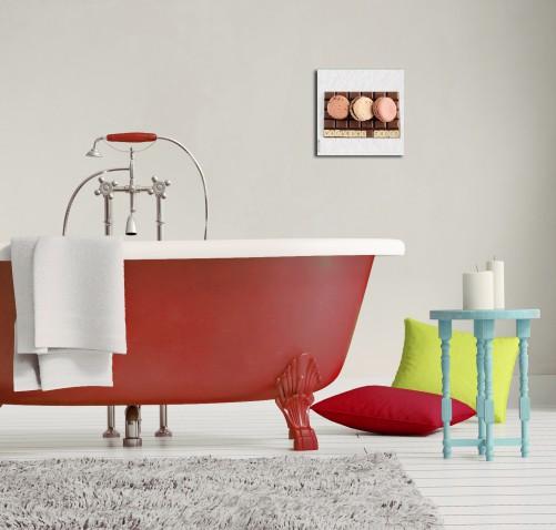 glasbild k che schokolade und macarons. Black Bedroom Furniture Sets. Home Design Ideas