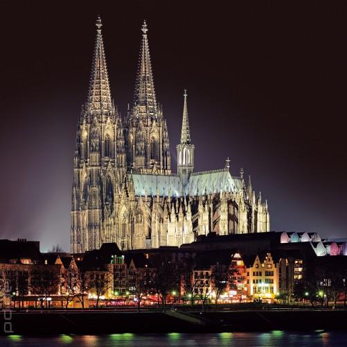 Glasbild Köln - Kölner Dom bei Nacht
