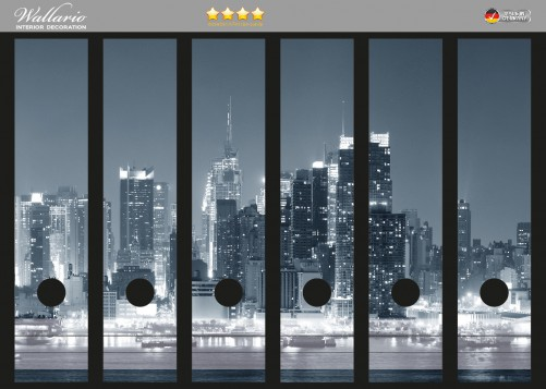 ordnerr cken sticker new york skyline schwarz wei blau. Black Bedroom Furniture Sets. Home Design Ideas