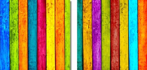 Acrylglasbild Buntes Holz - bunte Streifen mit Farbe und ...