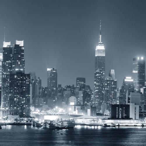 glasbild new york skyline schwarz wei blau. Black Bedroom Furniture Sets. Home Design Ideas