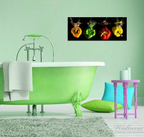 glasbild bunte k che paprika in rot gelb orange und gr n im wasser. Black Bedroom Furniture Sets. Home Design Ideas