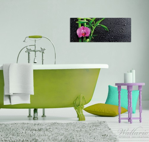 glasbild bambus und pinke orchidee auf schwarzem glas mit. Black Bedroom Furniture Sets. Home Design Ideas