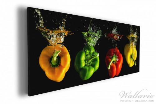 Leinwandbild Bunte Küche, Paprika In Rot, Gelb, Orange Und Grün Im