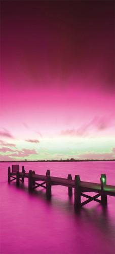 Selbstklebende Tapete Lila : Selbstklebende T?rtapete Steg bei Abendd?mmerung -Himmel bei Nacht