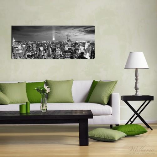 acrylglasbild new york bei nacht panoramablick ber die stadt schwarzwei. Black Bedroom Furniture Sets. Home Design Ideas