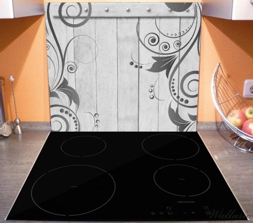 herdabdeckplatte graue holzt r mit schn rkelmuster. Black Bedroom Furniture Sets. Home Design Ideas