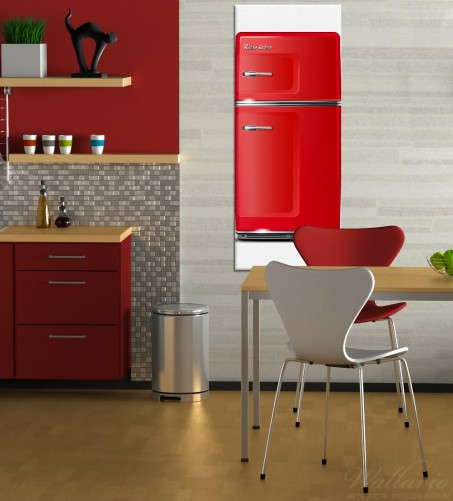 wallario leinwandbild 60 x 150 cm roter k hlschrank k hlschrank rot k che retro ebay. Black Bedroom Furniture Sets. Home Design Ideas