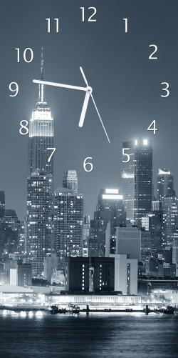 uhr new york skyline schwarz wei blau. Black Bedroom Furniture Sets. Home Design Ideas
