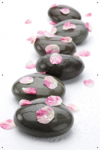 Gartenposter dunkle steine mit bl tenbl ttern for Dunkle steine garten