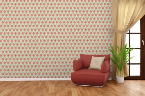 vliestapete muster mit roten blumen und gr nen bl ttern. Black Bedroom Furniture Sets. Home Design Ideas