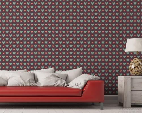 vliestapete muster mit herzen in gr n und rot. Black Bedroom Furniture Sets. Home Design Ideas