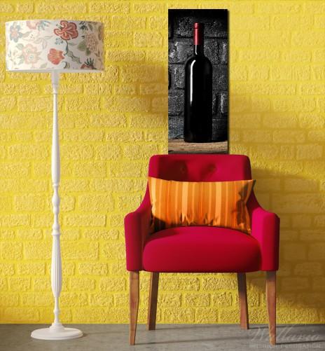 glasbild rotwein flasche am abend. Black Bedroom Furniture Sets. Home Design Ideas