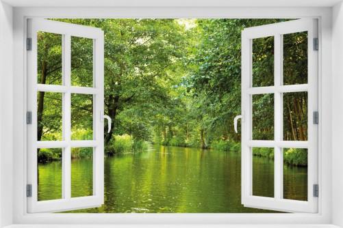 wallario maxi poster 61 x 91 5 cm mit fensterrahmen spreewald brandenburg ebay. Black Bedroom Furniture Sets. Home Design Ideas