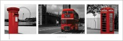 Poster London - red triptych