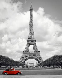 Poster Paris - Eiffelturm Red Car