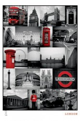 Deco Panel London - red collage – Bild 1