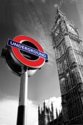 Poster London - Big Ben and Underground - U-Bahn Schild Colorkey