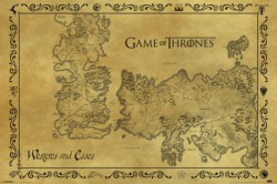 Poster Game of Thrones - Landkarte Essos und Westeros