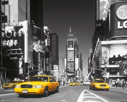 Poster Times Square - yellow cab - Mini