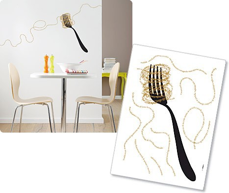 Wandsticker fur die kuche gabel und spaghetti for Wandsticker küche