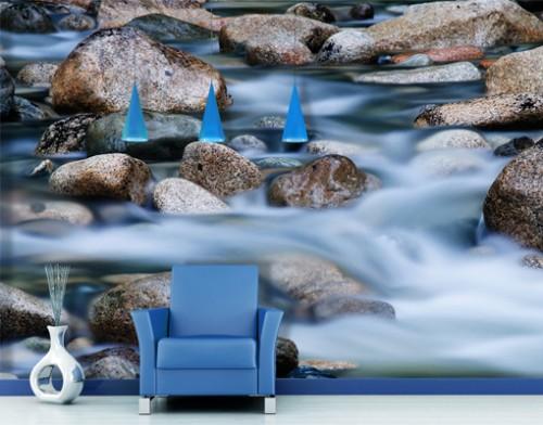 Disney Tapete Auf Rechnung : Fototapete Rauschender Fluss in steinigem Flussbett [26/0]