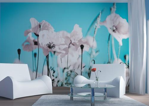 vliestapete wei e mohnbl ten. Black Bedroom Furniture Sets. Home Design Ideas