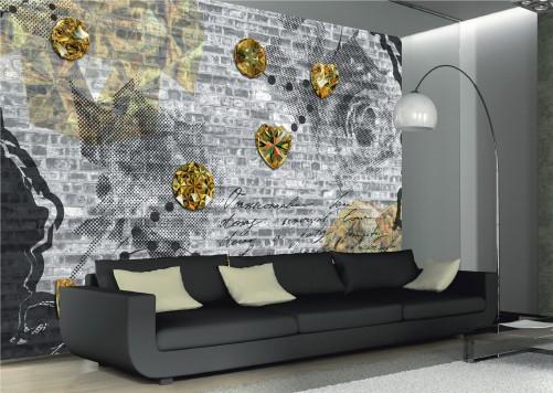 vliestapete vintage mit gelben diamanten. Black Bedroom Furniture Sets. Home Design Ideas