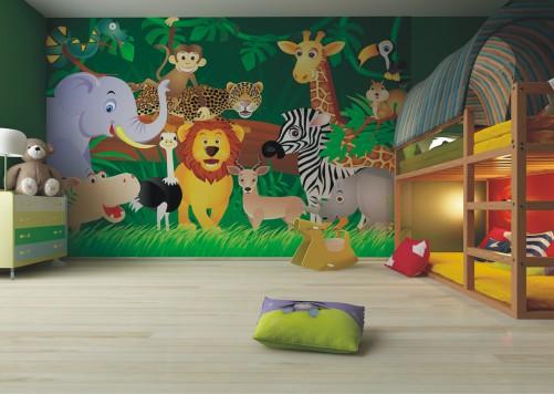 Tapete kinderzimmer tiere  Vliestapete Lustiger Dschungel und Tiere fürs Kinderzimmer