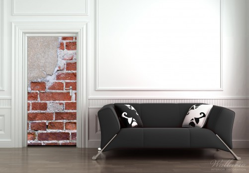 wallario selbstklebende premium t rtapete ziegel backstein wand putz 93x205cm ebay. Black Bedroom Furniture Sets. Home Design Ideas