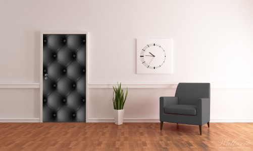 wallario selbstklebende premium t rtapete schwarz leder optik kn pfe 93x205 cm ebay. Black Bedroom Furniture Sets. Home Design Ideas