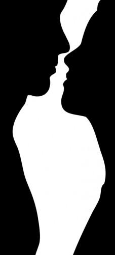 Mann Und Frau Kuscheln Schwarz Weiß
