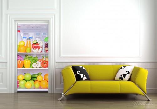 wallario selbstklebende premium t rtapete k hlschrank essen k che obst 93x205 cm ebay. Black Bedroom Furniture Sets. Home Design Ideas