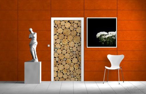 wallario selbstklebende premium t rtapete holz stapel kamin feuer braun 93x205cm ebay. Black Bedroom Furniture Sets. Home Design Ideas