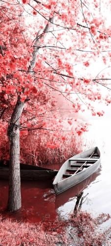 wallario selbstklebende premium t rtapete romantik boot rosa rot bl te 93x205 cm ebay. Black Bedroom Furniture Sets. Home Design Ideas